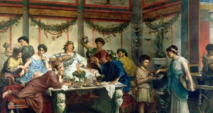 Roberto Bompiani (Italian, 1821-1908), A Roman Feast, late 19th century, oil on canvas, 127 x 163.8 cm (50 x 64 1/2 in.), The J. Paul Getty Museum, Los Angeles. (Photo by VCG Wilson/Corbis via Getty Images)