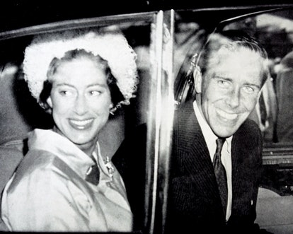 Photograph of Princess Margaret and her husband Mr Antony Armstrong-Jones returning from their honey...