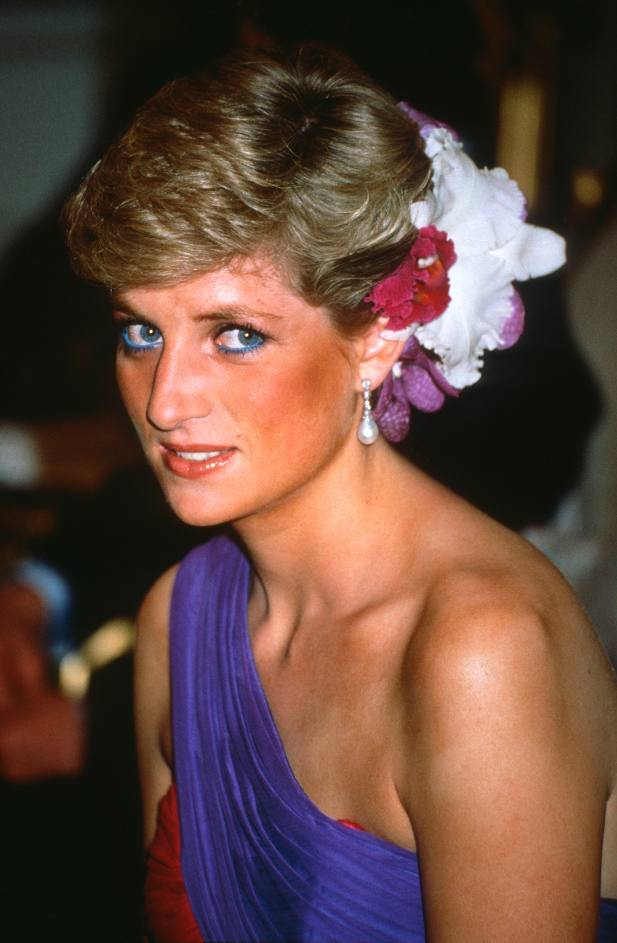 Princess Diana's blue eyeliner was a welcome pop of color and enhanced her blue eyes.
