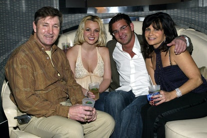 Singer Britney Spears (2nd,L) and family (L-R), father Jamie, brother Bryan and mother Lynne celebra...