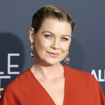 """LOS ANGELES, CA - FEBRUARY 26:  Ellen Pompeo arrives at the Los Angeles premiere of Disney's """"A Wrinkle In Time"""" held at El Capitan Theatre on February 26, 2018 in Los Angeles, California.  (Photo by Michael Tran/FilmMagic)"""