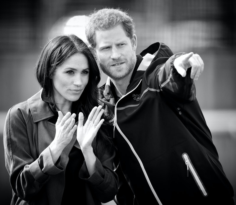 BATH, UNITED KINGDOM - APRIL 06: (EMBARGOED FOR PUBLICATION IN UK NEWSPAPERS UNTIL 24 HOURS AFTER CREATE DATE AND TIME) (EDITORS NOTE: This image was processed using digital filters) Meghan Markle and Prince Harry attend the UK Team Trials for the Invictus Games Sydney 2018 at the University of Bath on April 6, 2018 in Bath, England. (Photo by Max Mumby/Indigo/Getty Images)