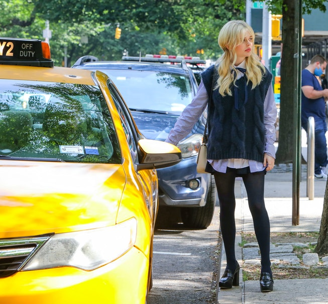 NEW YORK, NY - JUNE 08: Emily Alyn Lind is seen at the film set of 'Gossip Girl' TV Series on June 0...