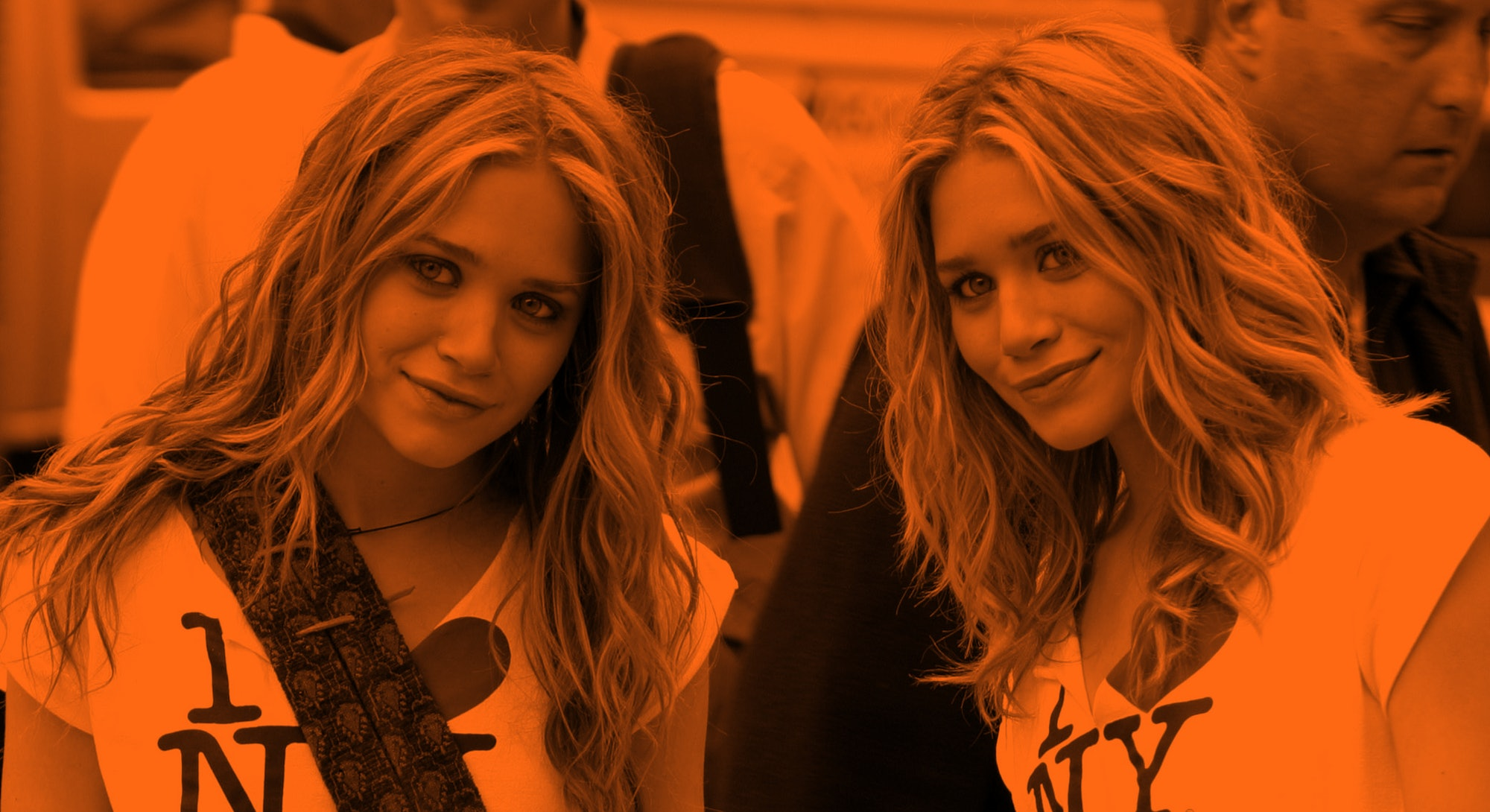 """Mary Kate Olsen and Ashley Olsen during """"New York Minute"""" on Location in Manhattan - October 9, 2003..."""