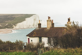Seaford, England - Nov 30, 2020: The White cliffs called the seven sisters on the East Sussex coast ...