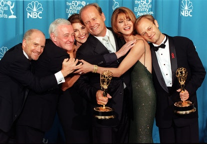 """The cast of the television situation comedy """"Frasier"""" pose with their Emmy for Outstanding Comedy Se..."""