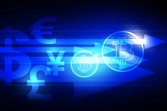 Cryptocurrency illustration concept shows an abstract blue color of Bitcoin that is transferred from...