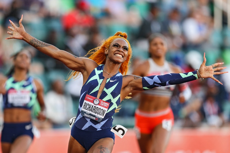 Sha'Carri Richardson celebrates winning the Women's 100 Meter final at the U.S. Olympic Track & Field Team Trials. (Photo by Patrick Smith/Getty Images)