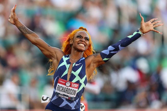 EUGENE, OREGON - JUNE 19: Sha'Carri Richardson celebrates winning the Women's 100 Meter final on day...