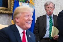 WASHINGTON, DC - MAY 17: National Security Advisor John Bolton listens as President Donald J. Trump ...