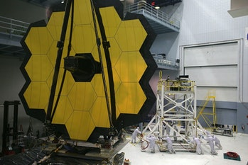 GREENBELT, MD - NOVEMBER 02:  Engineers and technicians assemble the James Webb Space Telescope Nove...