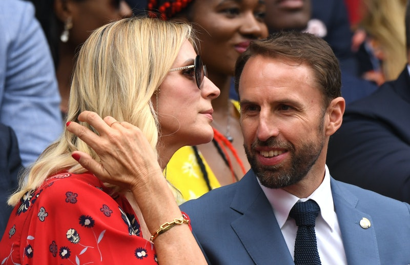 Gareth Southgate and his wife Alison Southgate are seen in the Royal Box during Day six of The Championships - Wimbledon 2019