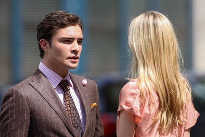 Actors Ed Westwick and Clemence Poesy on the set of 'Gossip Girl' on July 6, 2010 in Paris, France.