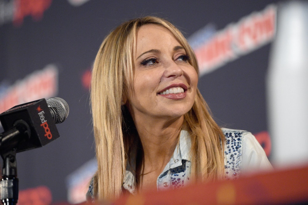 NEW YORK, NY - OCTOBER 07: Voice actor Tara Strong speaks onstage at the Let's Be Heroes panel durin...