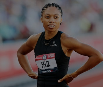 EUGENE, OREGON - JUNE 19: Allyson Felix reacts after the Women's 400 Meter semi-finals on day 2 of t...