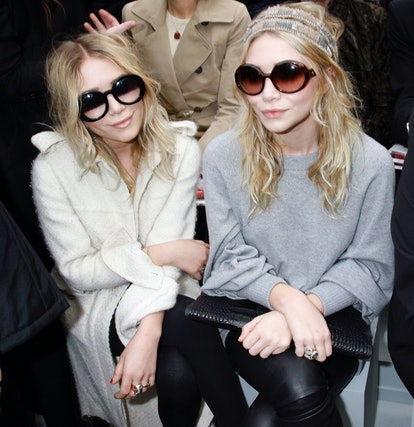 PARIS- FEBRUARY 29: Mary Kate Olsen and Ashley Olsen attend the Chanel Fashion show, during Paris Fa...