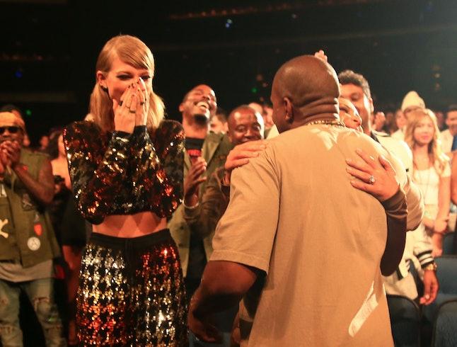 LOS ANGELES, CA - AUGUST 30:  (L-R) Recording artist Taylor Swift, TV personality Kim Kardashian and...