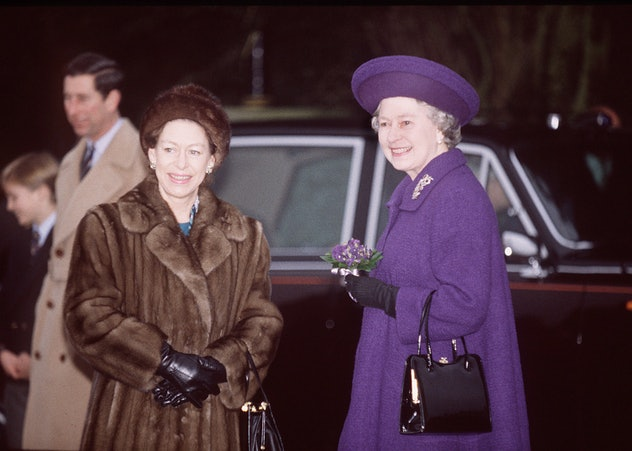 SANDRINGHAM, UNITED KINGDOM - DECEMBER 25:  Queen And Princess Margaret On Christmas Day In Sandring...