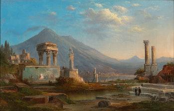 Vesuvius and Pompeii, 1870. Artist Robert Seldon Duncanson. (Photo by Heritage Art/Heritage Images v...