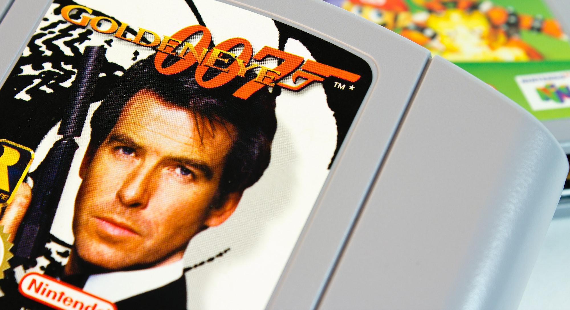 """Gothenburg, Sweden - April 15, 2011: Studio shot of the very popular Nintendo 64 game 007 Goldeneye..."