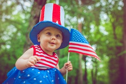 Cute baby celebrating Independence day