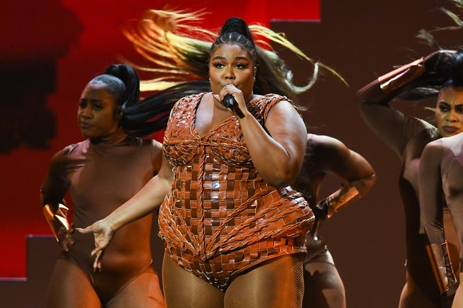 LONDON, ENGLAND - FEBRUARY 18: (EDITORIAL USE ONLY) Lizzo performs live on stage during The BRIT Awa...