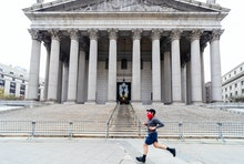 Manhattan, New York, USA - 4/25/2020:  Centre street view of the New York County Supreme court  in F...