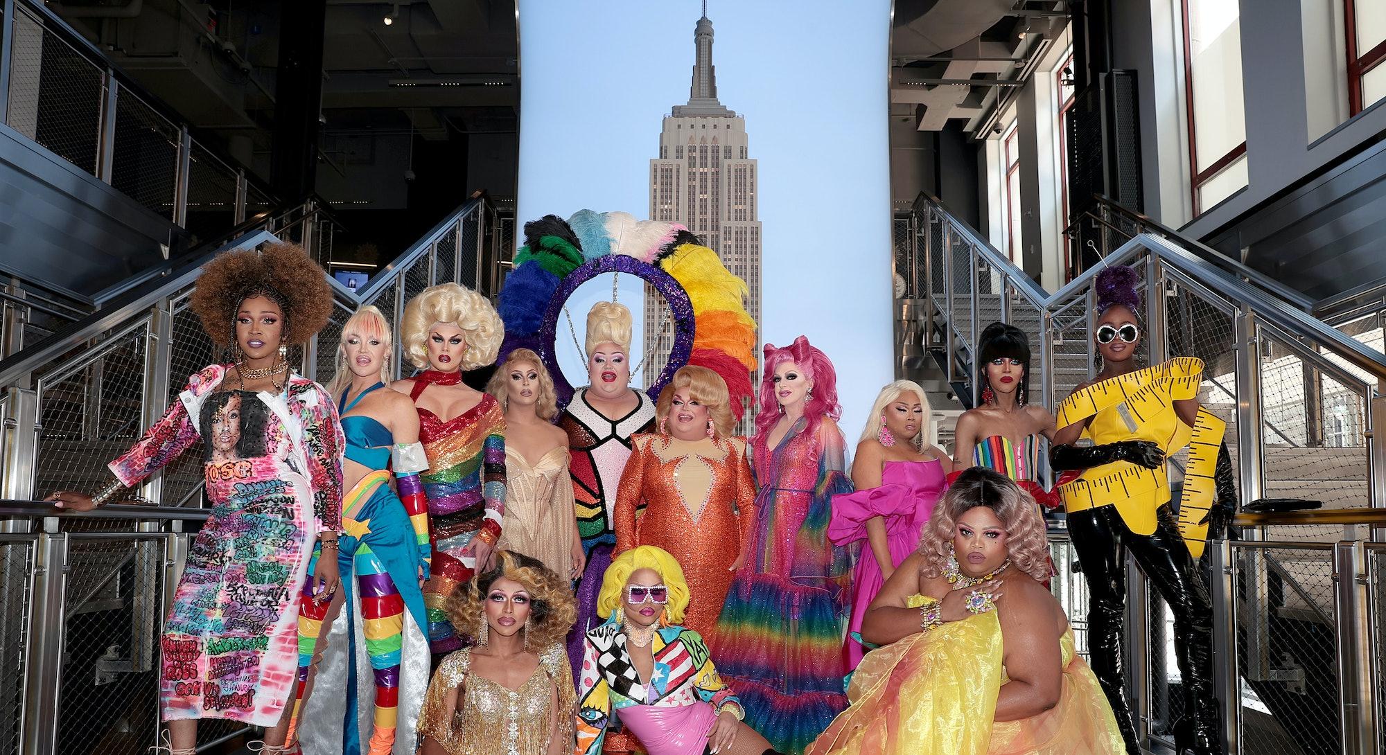 "A'keria C. Davenport, Kylie Sonique Love, Scarlet Envy, Jan, Eureka!, Ginger Minj, Pandora Boxx, Jiggly Caliente, Trinity K. Bonet, Ra'Jah O'Hara, (bottom row L-R) Serena ChaCha, Yara Sofia, and Silky Nutmeg Ganache attend as Empire State Building hosts the cast of ""RuPaul's Drag Race All Stars"" Season 6 on June 24, 2021 in New York City."