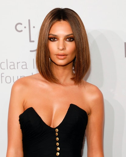 Emily Ratajkowski's long and sleek cut is a great bob hairstyle for thick hair.