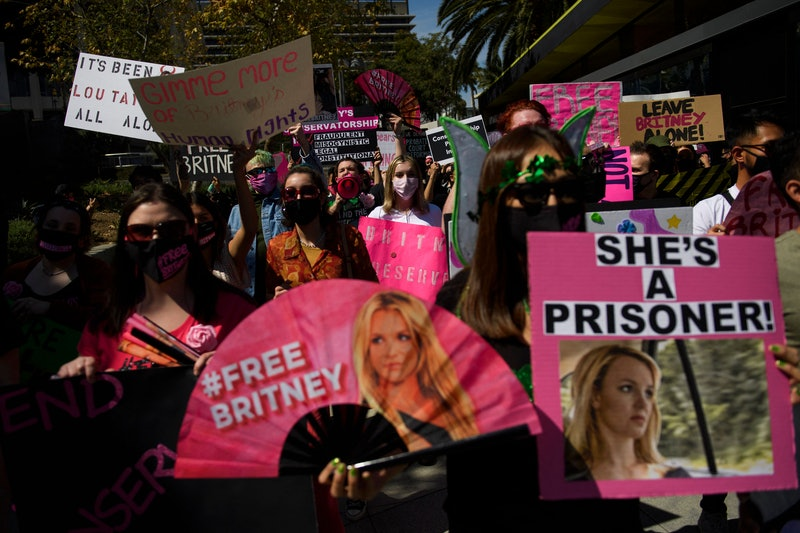 TOPSHOT - Supporters of the FreeBritney movement rally in support of musician Britney Spears followi...