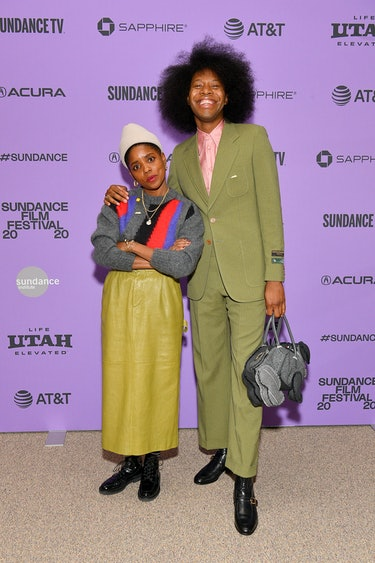 "Janicza Bravo and Jeremy O. Harris attend the ""Zola"" premiere during the 2020 Sundance Film Festival..."
