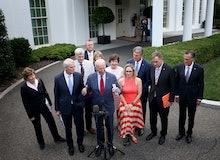 WASHINGTON, DC - JUNE 24: U.S. President Joe Biden speaks outside the White House with a bipartisan ...