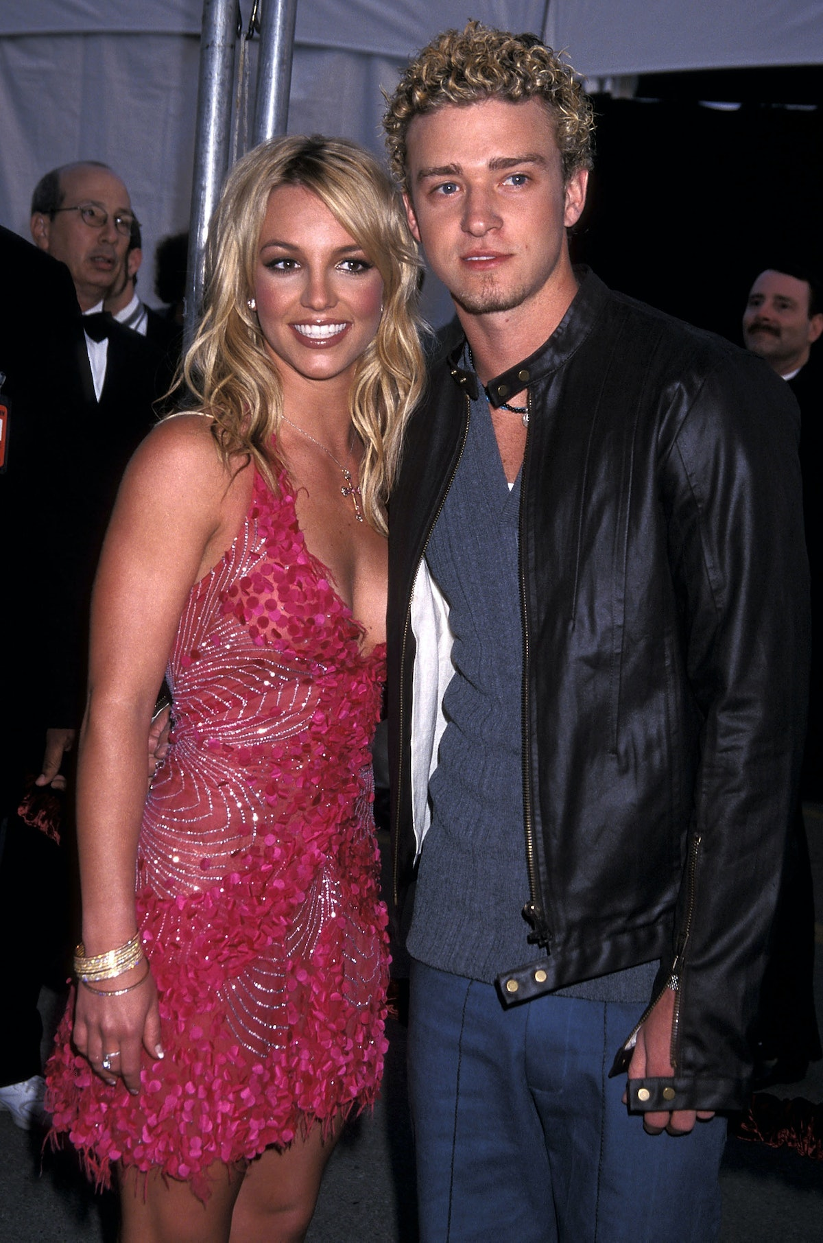 Singer Britney Spears and singer Justin Timberlake of N'Sync attend the 29th Annual American Music A...