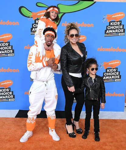 INGLEWOOD, CA - MARCH 24:  Nick Cannon (L) and Mariah Carey (C) with Moroccan Cannon and Monroe Cann...