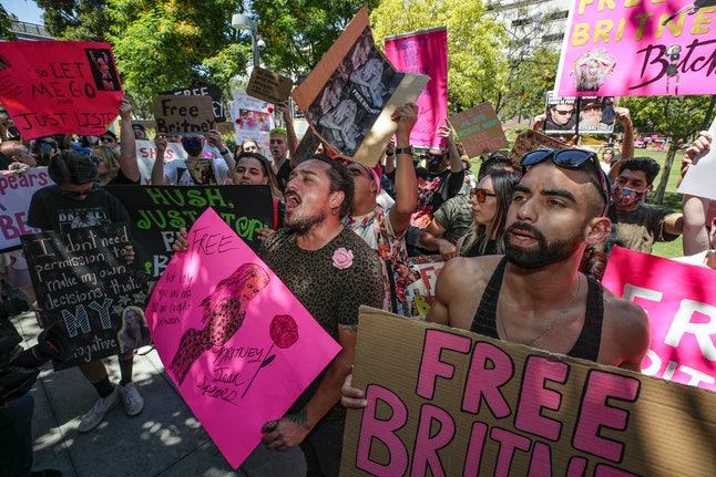 Los Angeles, CA - June 23: Supporters of Britney Spears rally as hearing on the Britney Spears conse...