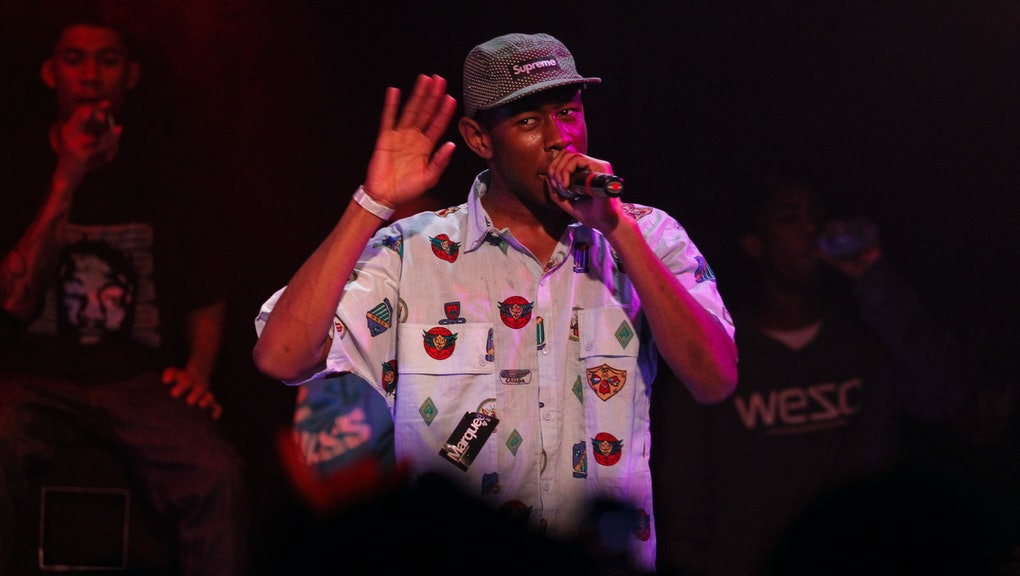 Tyler the Creator, entertains the crowd, as Odd Future Wolf Gang Kill Them All, a hip-hop collective...