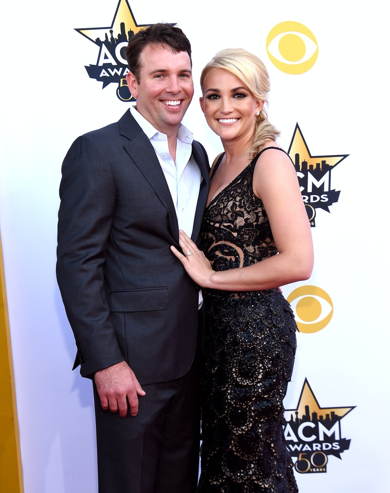 ARLINGTON, TX - APRIL 19:  Actor Jamie Watson (L) and actress/recording artist Jamie Lynn Spears attend the 50th Academy of Country Music Awards at AT&T Stadium on April 19, 2015 in Arlington, Texas.  (Photo by Rick Diamond/ACM2015/Getty Images for dcp)