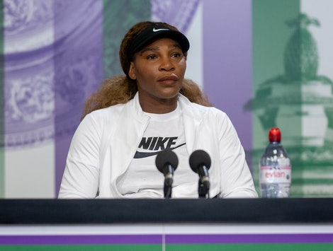Serena Williams (USA) attends a press conference in the Main Interview Room at The All England Lawn Tennis and Croquet Club. Picture date: Sunday June 27, 2021. (Photo by AELTC/Florian Eisele/PA Images via Getty Images)