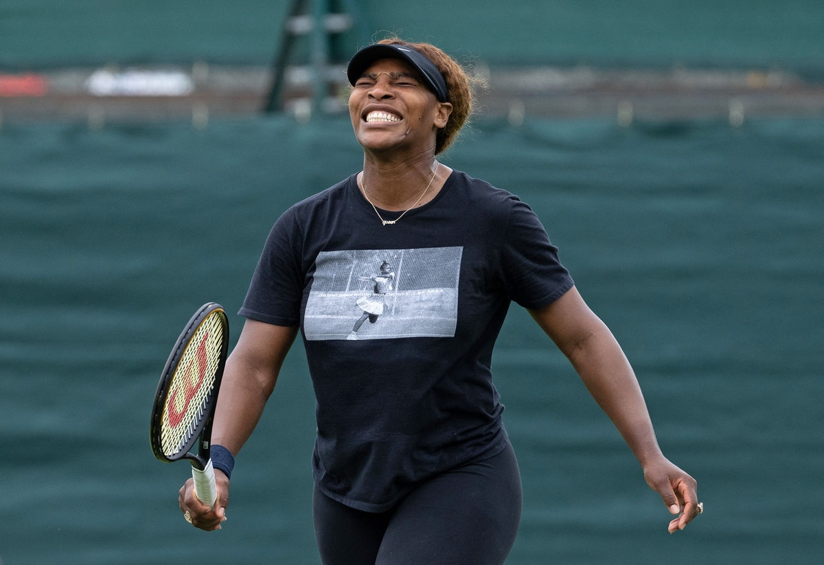 Serena Williams, who said she won't go to the 2021 Olympics, at The All England Tennis Club in Wimbledon.