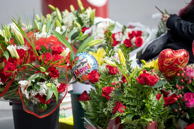 NEW YORK, NEW YORK - MAY 09: Mother's Day flowers and balloons are sold on the Upper West Side on Mo...