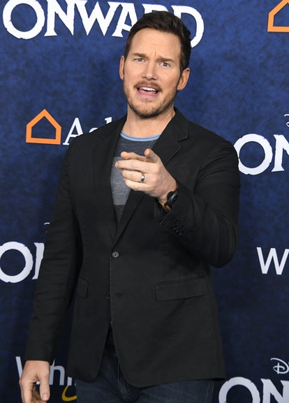 Chris Pratt embraces the full range of his celebrity Cancer emotions while pointing a finger at photographer on the red carpet.