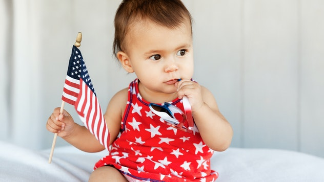 Photo taken in Las Vegas, United States, baby with flag