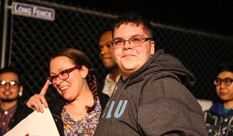 WASHINGTON, DC - FEBRUARY 22: Transgender teen, Gavin Grimm, right, and Vanessa Ford, left, mother o...