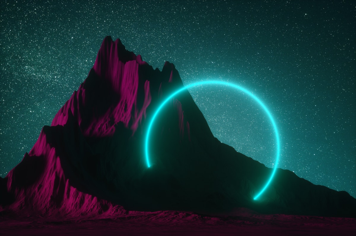 Abstract view of neon geometric shape near mountain at night on stars background. 3d render.
