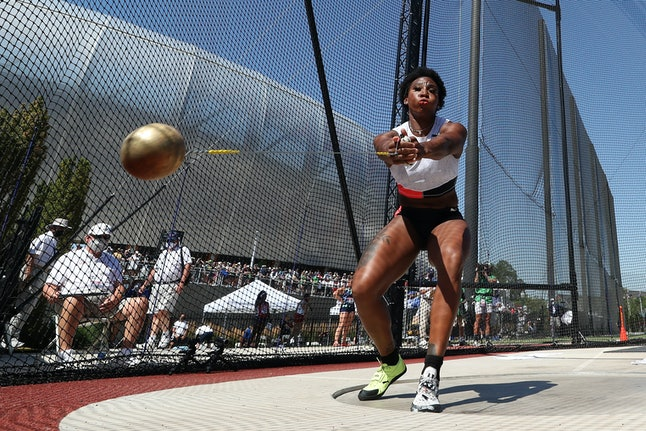 EUGENE, OREGON - JUNE 26: Gwendolyn Berry competes in the Women's Hammer Throw final on day nine of ...