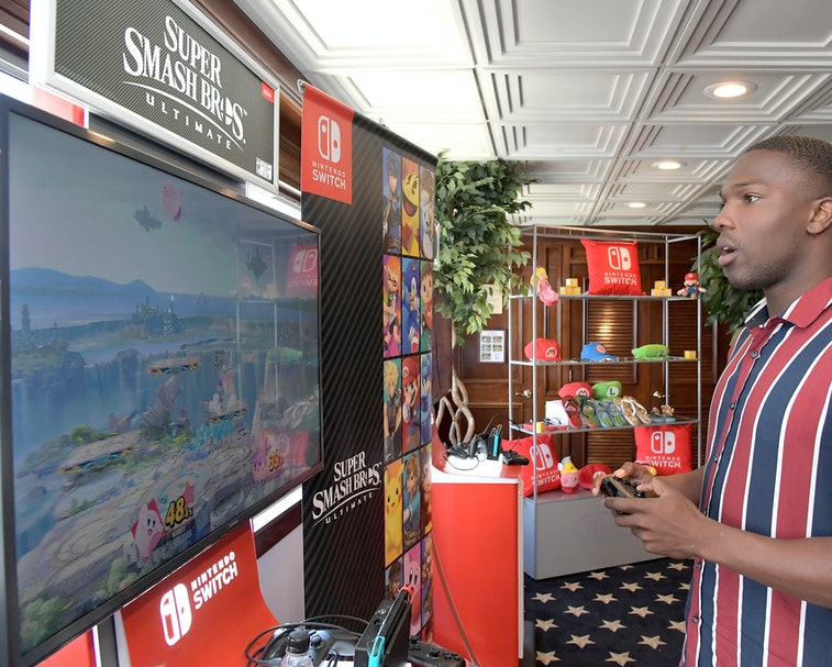 SAN DIEGO, CA - JULY 21:  Tosin Cole tests his skills on Super Smash Bros. Ultimate for Nintendo Switch at the Variety Studio at Comic-Con 2018 on July 21, 2018 in San Diego, California.  (Photo by Charley Gallay/Getty Images for Nintendo )