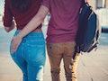 Young couple walking outside