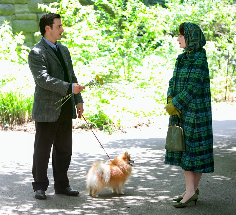 Rachel Brosnahan and Milo Ventimiglia are seen at the film set of 'The Marvelous Mrs Maisel' Season 4 on June 10, 2021 in New York City.