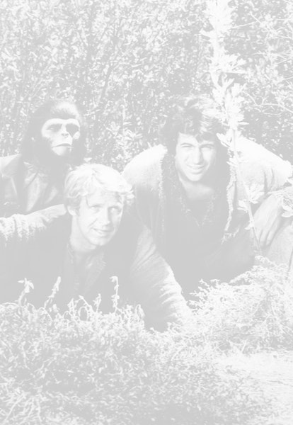 From left to right, actors Roddy McDowall as Galen, Ron Harper as Alan Virdon, and James Naughton as...