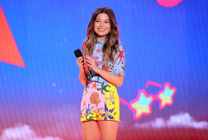 'iCarly' star Miranda Cosgrove speaks onstage during Nickelodeon's Kids' Choice Awards at Barker Han...